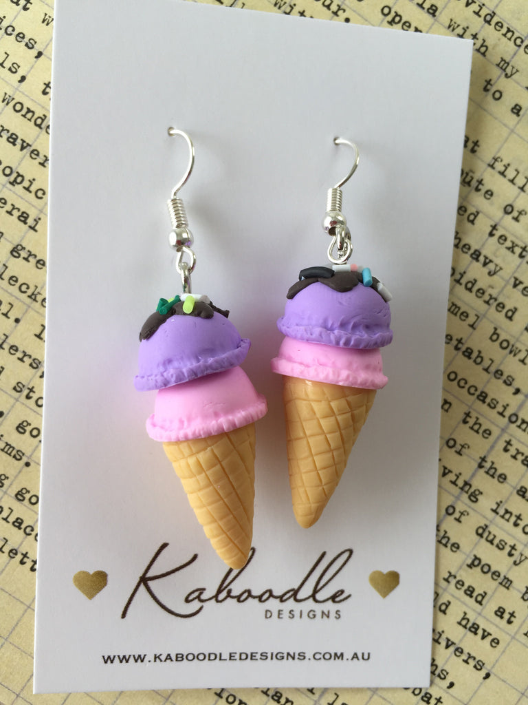 Miniature 3D Yummy Food Ice Cream Dangle Earrings - Strawberry and Grape
