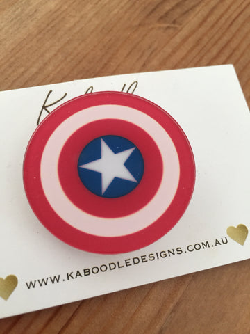 Captain America Shield - Acrylic Perspex Brooch
