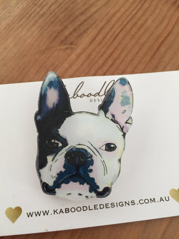 French Bulldog - Acrylic Laser Cut Perspex Brooch