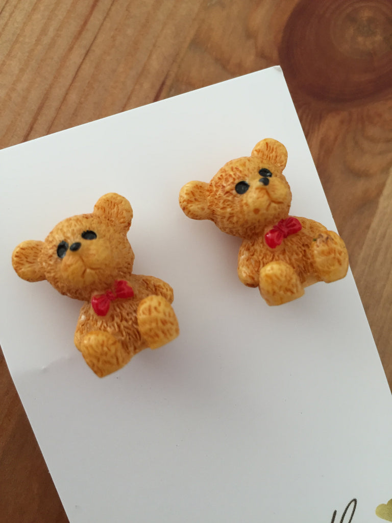 Miniature 3D Teddy Bear Stud Earrings