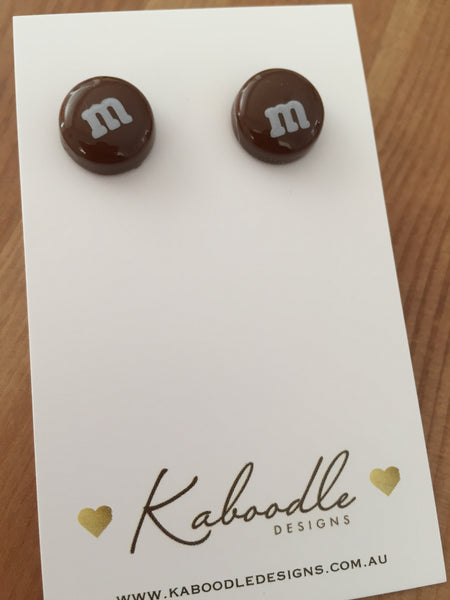Miniature Food Candy Lolly Chocolate M&M Stud Earrings