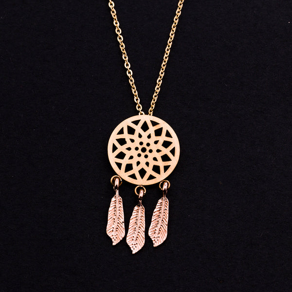 Rose Gold - Stainless Steel Boho Dream Catcher Cutout Mini Dainty Minimalist Necklace