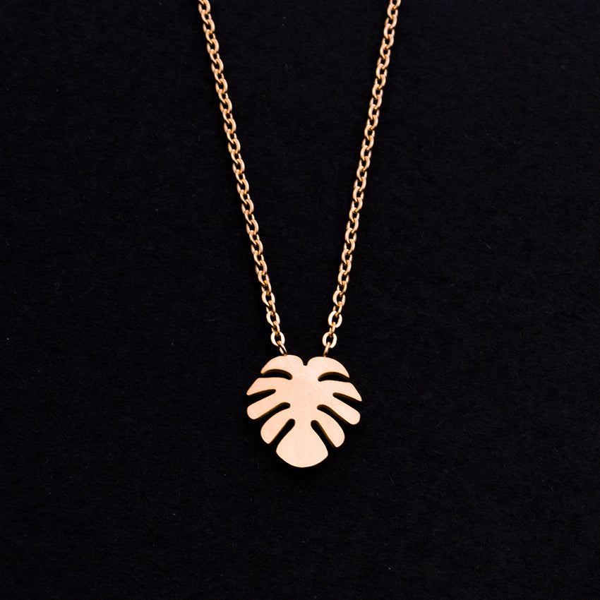 Rose Gold - Stainless Steel Monstera Leaf Cutout Mini Dainty Minimalist Necklace