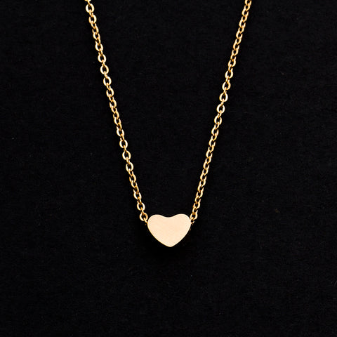 Rose Gold - Stainless Steel Heart Cutout Mini Dainty Minimalist Necklace
