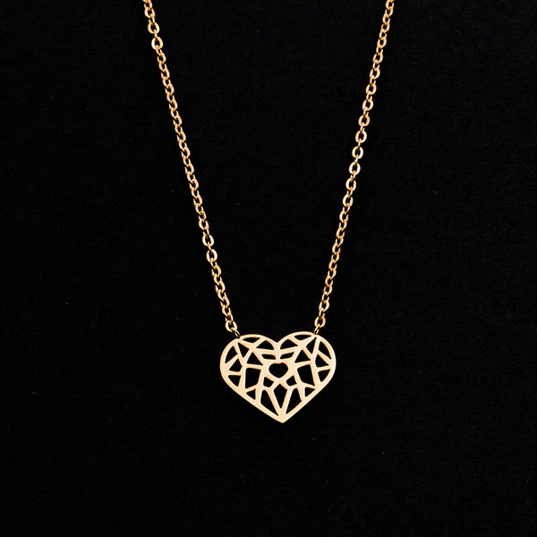 Rose Gold - Stainless Steel Origami Heart Cutout Mini Dainty Minimalist Necklace