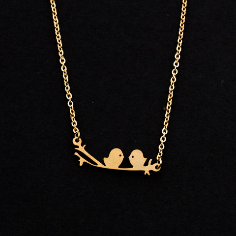Rose Gold - Stainless Steel Bird on A Branch Cutout Mini Dainty Minimalist Necklace
