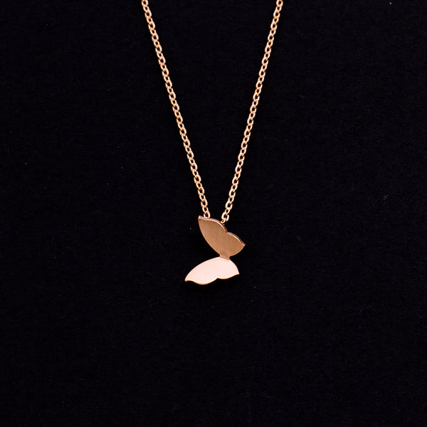 Rose Gold - Stainless Steel Butterfly Cutout Mini Dainty Minimalist Necklace