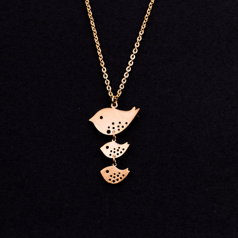 Rose Gold - Stainless Steel 3 Birds Cutout Mini Dainty Minimalist Necklace