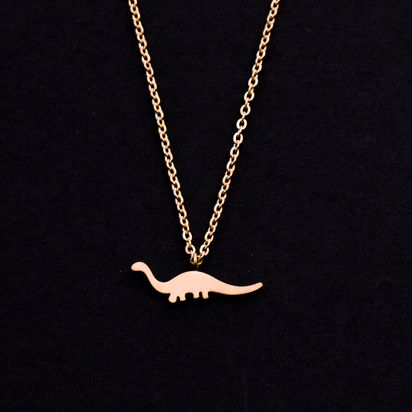 Rose Gold - Stainless Steel Dinosaur Cutout Mini Dainty Minimalist Necklace