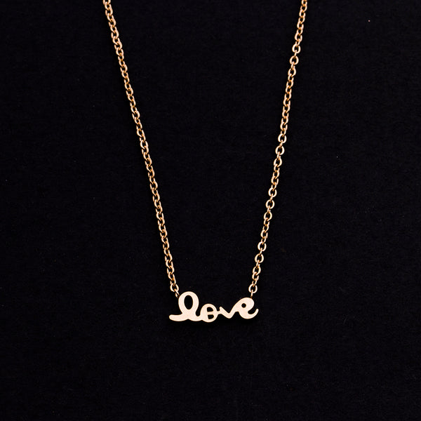 Rose Gold - Stainless Steel Love Script Cutout Mini Dainty Minimalist Necklace