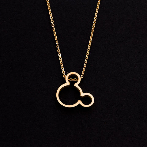 Rose Gold - Stainless Steel Mickey Mouse Cutout Mini Dainty Minimalist Necklace