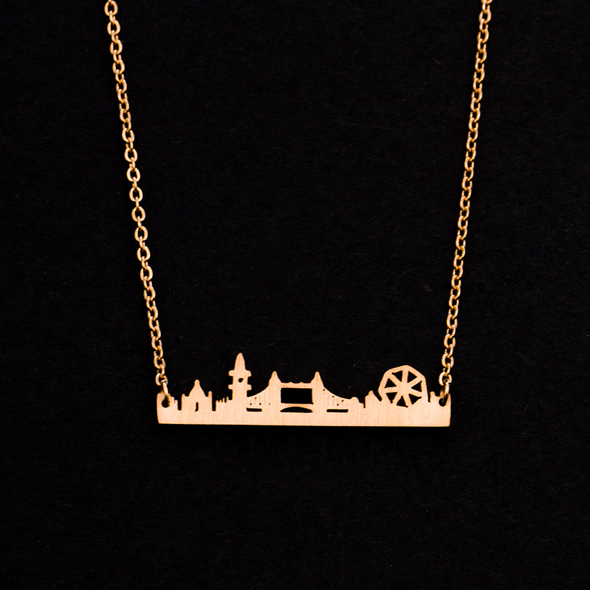 Rose Gold - Stainless Steel London UK Cutout Mini Dainty Minimalist Necklace