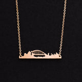 Rose Gold - Stainless Steel Sydney Australia Cutout Mini Dainty Minimalist Necklace