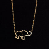 Rose Gold - Stainless Steel Elephant Cutout Mini Dainty Minimalist Necklace