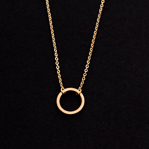 Rose Gold - Stainless Steel Round Circle Cutout Mini Dainty Minimalist Necklace