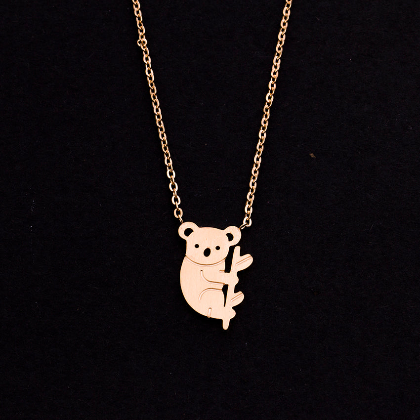Rose Gold - Stainless Steel Australia Koala Cutout Mini Dainty Minimalist Necklace