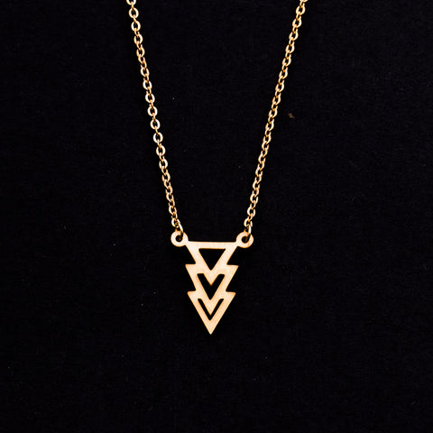 Rose Gold - Stainless Steel Geometric Triangles Cutout Mini Dainty Minimalist Necklace