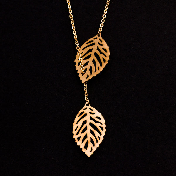 Rose Gold - Stainless Steel Double Leaf Lariat Cutout Mini Dainty Minimalist Necklace