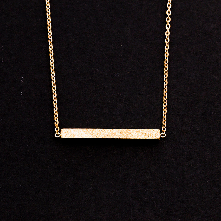 Rose Gold - Stainless Steel Geometric Bar Mini Dainty Minimalist Necklace