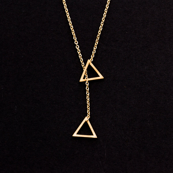 Rose Gold - Stainless Steel Triangle Lariat Cutout Mini Dainty Minimalist Necklace