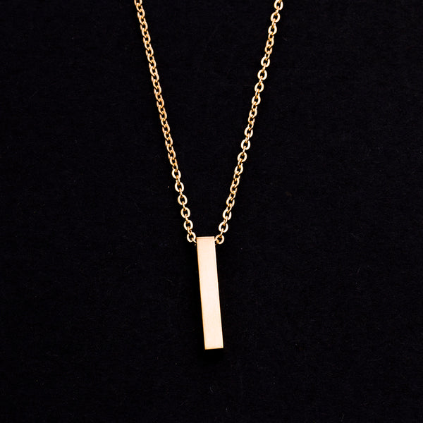 Rose Gold - Stainless Steel Bar Cutout Mini Dainty Minimalist Necklace