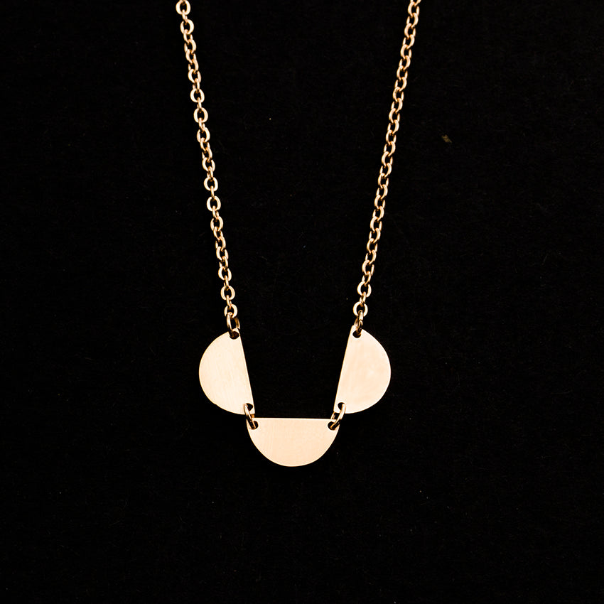 Rose Gold - Stainless Steel Half Semi Circle Disc Cutout Mini Dainty Minimalist Necklace