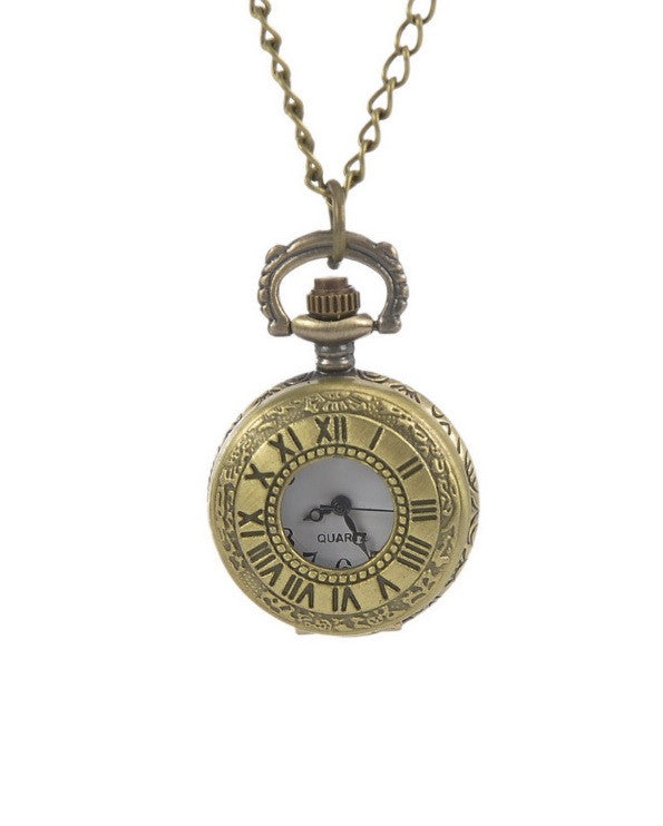 Roman Numeral Numbers - Small Pocket Watch Necklace