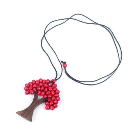 Bohemian Red Bead Tree Of Life Wooden Necklace