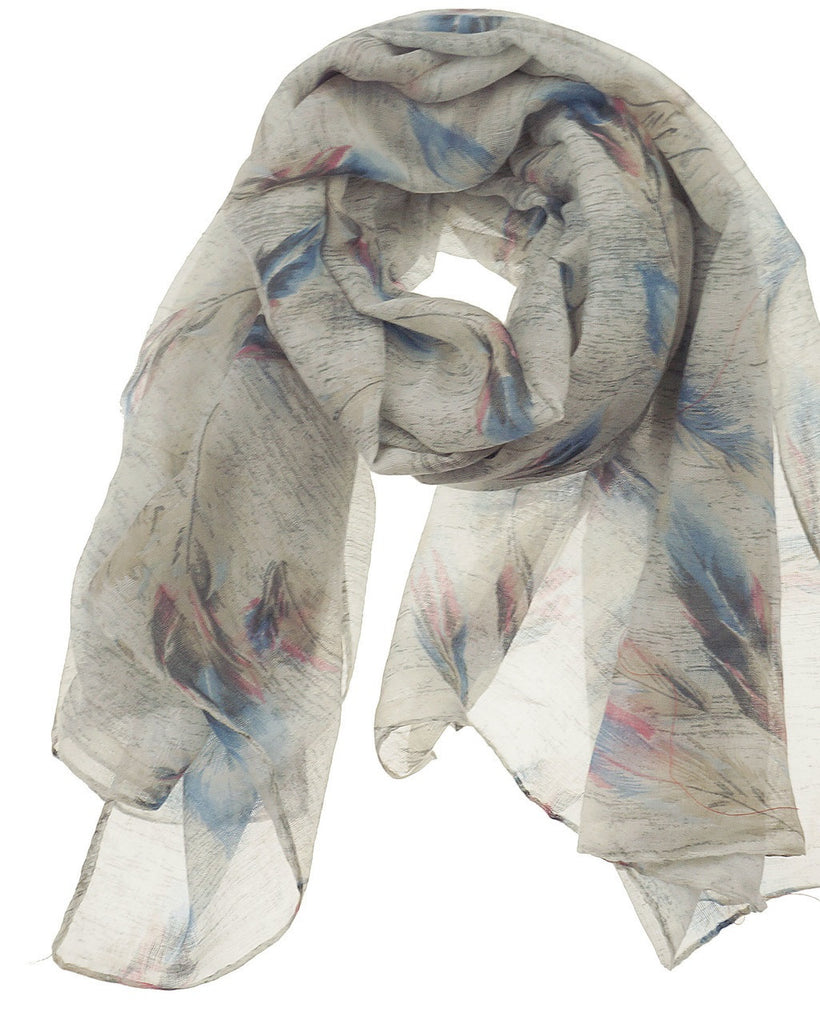 Fashion Scarf - Feathers in Grey