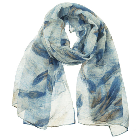 Fashion Scarf - Feathers in Blue