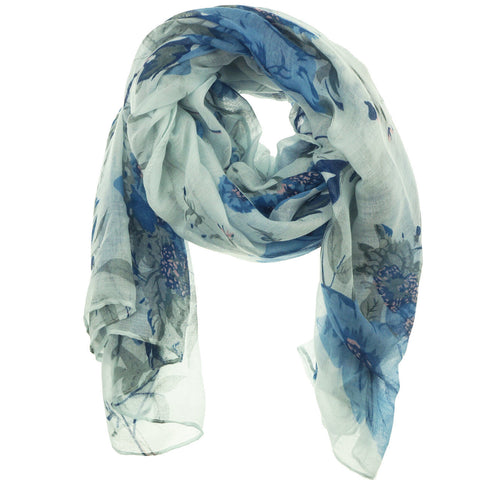 Fashion Scarf - Flowers in Blue