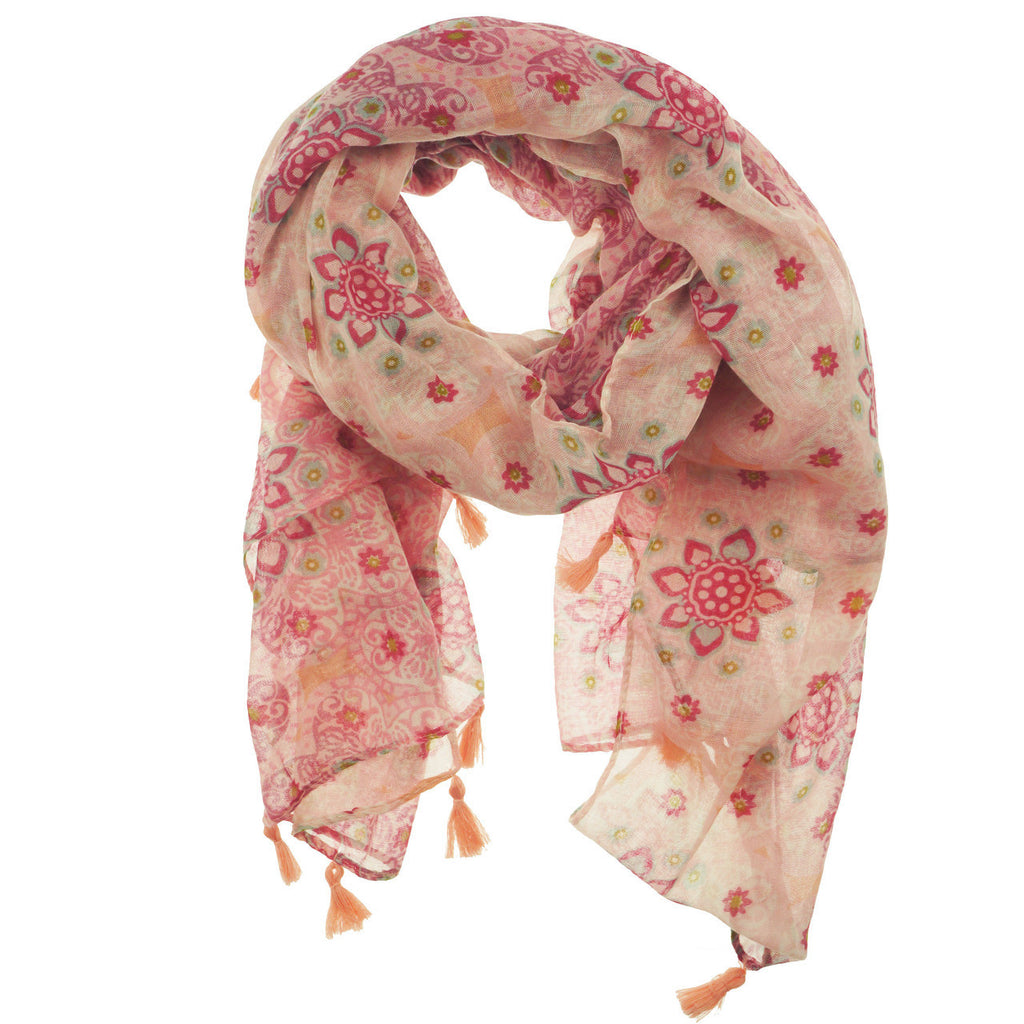 Fashion Scarf - Flowers with Tassels in Pink