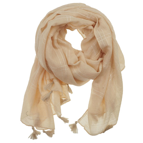 Fashion Scarf - Squares with Tassels in Nude