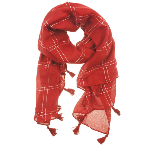 Fashion Scarf - Squares with Tassels in Red