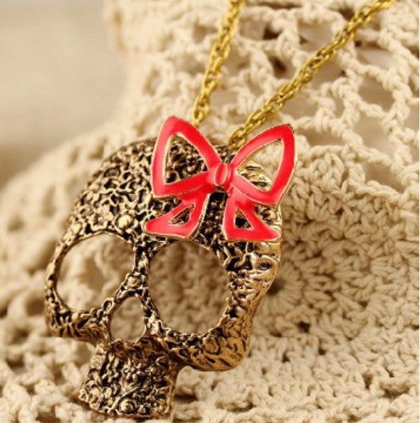 Bronze Skull Necklace with Bow