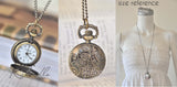 Handmade Artwork Stainless Steel Pocket Watch Necklace - Flower Wreath HOPE