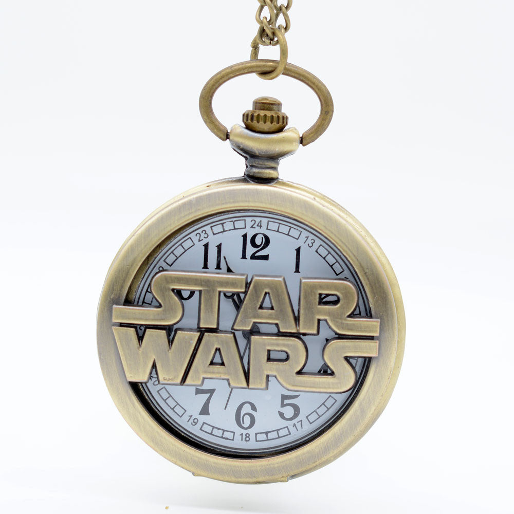 Star Wars Inspired Cut Out Medium Pocket Watch Necklace - Antique Gold