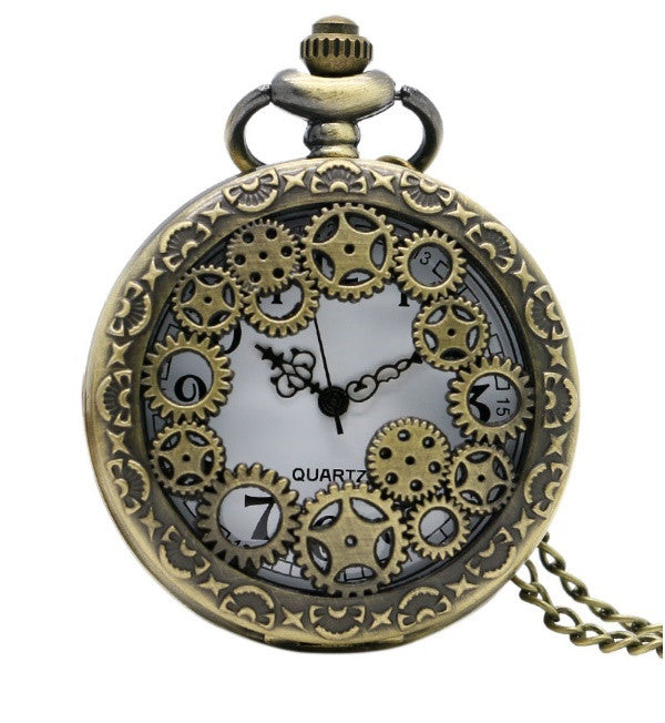 Steampunk Gears Large Pocket Watch Necklace - Antique Gold