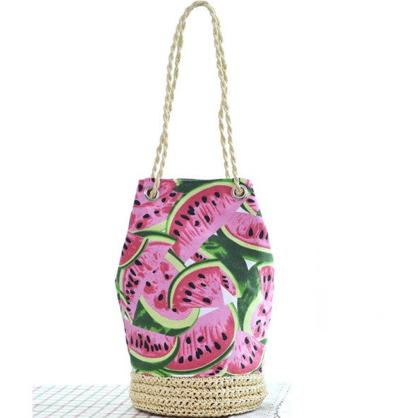 Drawstring Bucket Shoulder Bag - Watermelon