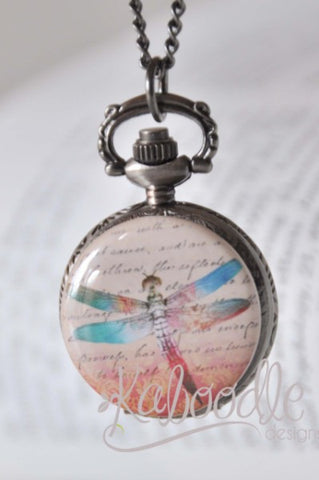 Afternoon Dragonfly - Pocket Watch Necklace
