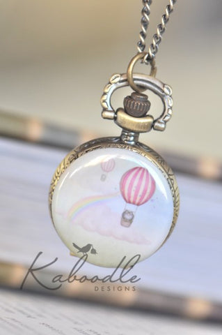 Air Balloon Owl - Small Pocket Watch Necklace