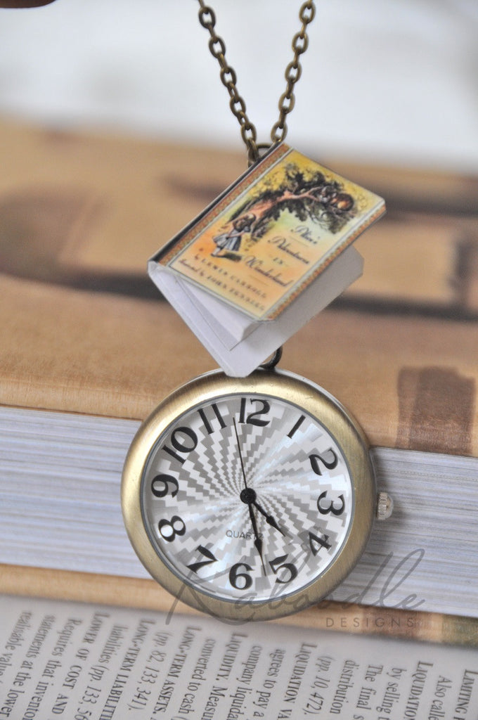 Once Upon a Wonderland Book Watch Necklace