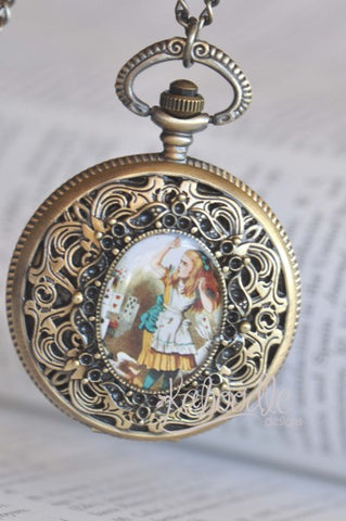Alice and Deck of Cards - Large Pocket Watch Necklace
