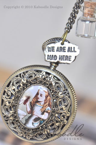 Alice and the Bottle with Charms - Large Pocket Watch Necklace