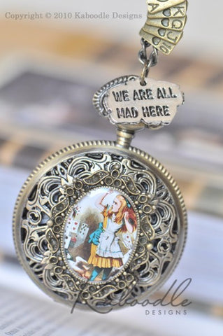 Alice and the Deck of Cards with Charms - Pocket Watch Necklace