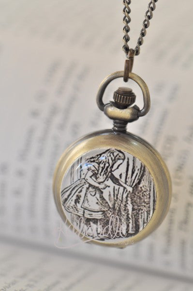 Handmade Artwork Stainless Steel Pocket Watch Necklace - Black and White Alice In Wonderland and the Key