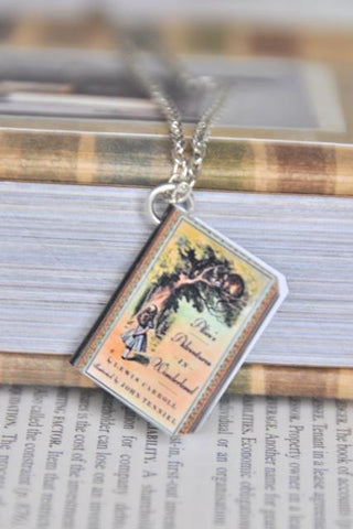 Alice Cheshire Cat Mini Book Necklace