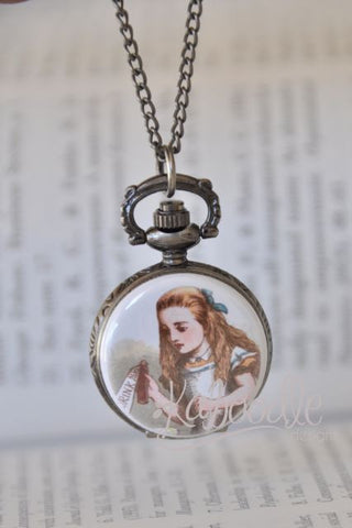 Alice Drink Me - Handmade Image Pocket Watch Necklace