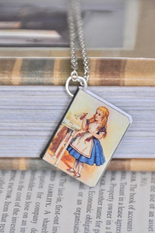 Alice Drink Me Mini Book Necklace