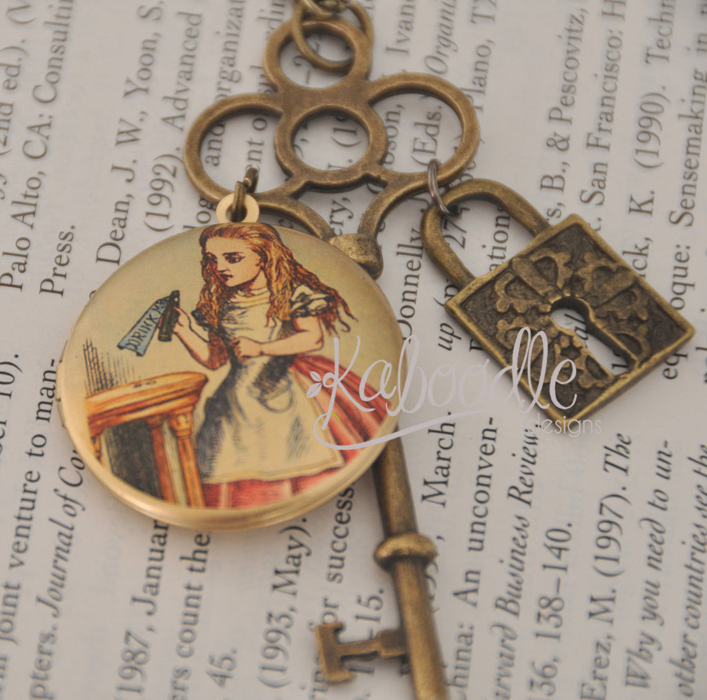 Alice Key To The Door - Locket Key Lock Long Necklace